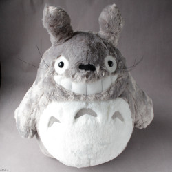 Totoro Grey Plush Grinning Soft Fluffy Large